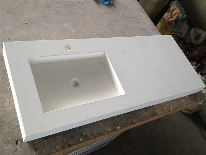1 of 7 - White Concrete Vanity Top - Caesarstone Look