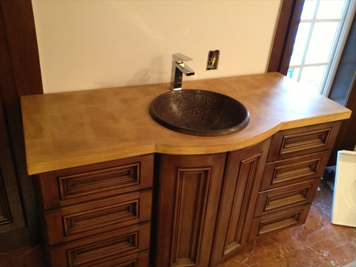 10 of 38    |    Traditional Concrete Vanity Top - Acid Stain