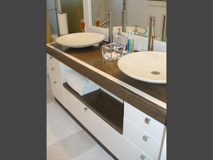 15 of 38    |    Remodeled Bathroom - Concrete Vanity Top Surround