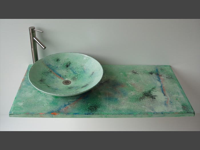18 of 38    |    Patterned Concrete Vanity - Top Vessel Sink