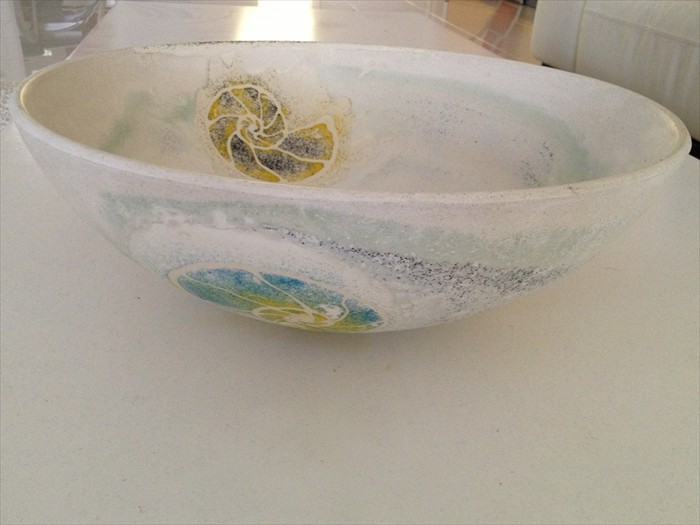 28 of 38    |    Handcrafted Concrete Vessel Sink - Integrated Sea Fossil